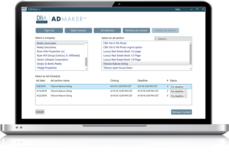 AdMaker - Data Based Ads' ad production software
