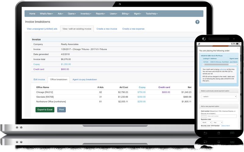 Admaster - Billing, expense tracking, credit card user interface