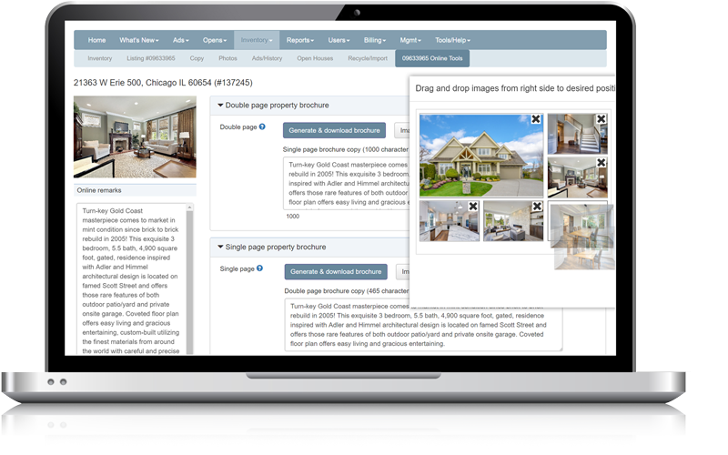 Admaster - Automated listing brochure user interface